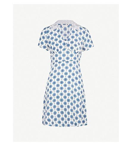 SANDRO Geometric-pattern silk dress (Blanc