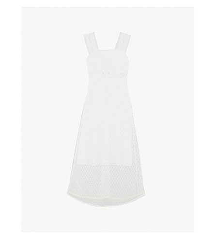 SANDRO Sleeveless lace overlay dress (Blanc