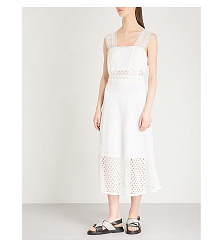 SANDRO Sleeveless lace overlay dress (Blanc