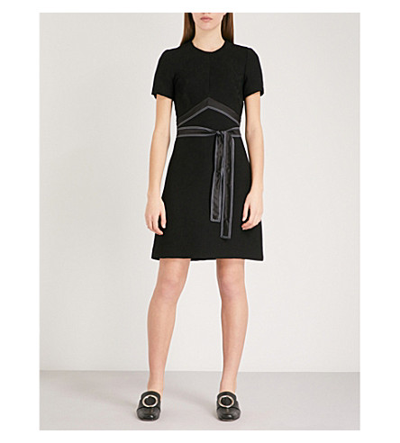 SANDRO Silk-satin belt woven dress (Noir