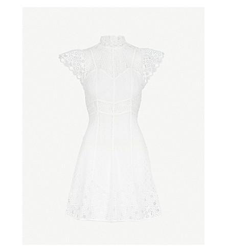SANDRO Cutout embroidered lace mini dress (Ecru