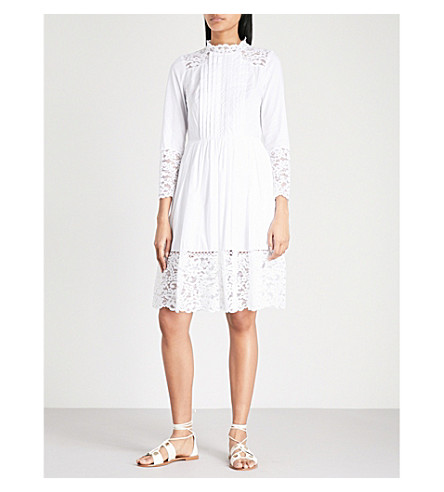 SANDRO Lace-embroidered cotton dress (Blanc
