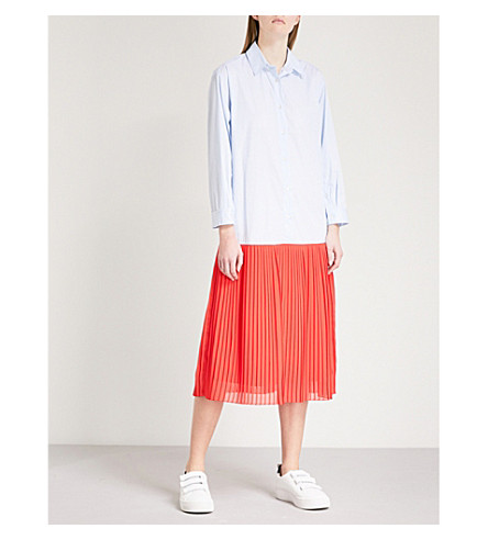 SANDRO Striped cotton-blend dress (Bleu+ciel