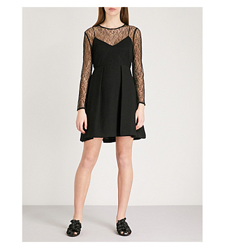 SANDRO Embroidered-mesh dress (Noir
