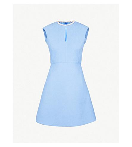 SANDRO Faux pearl-embellished woven dress (Bleu+ciel