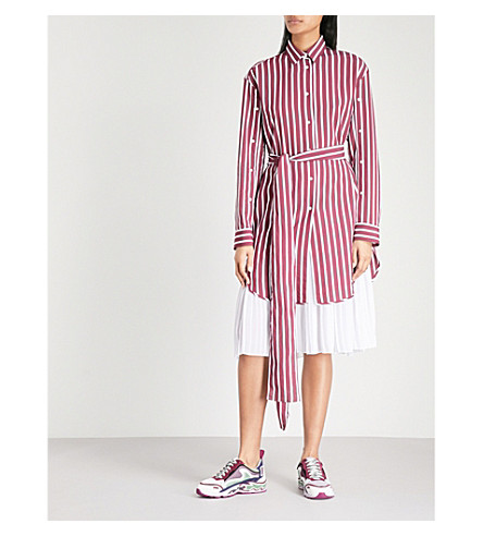 SANDRO Striped belted poplin dress (Burgundy