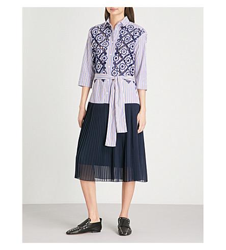 SANDRO Cotton-blend and chiffon dress (Bleu+nuit