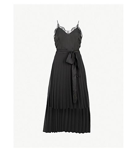 SANDRO Lace-trim pleated crepe midi dress (Noir