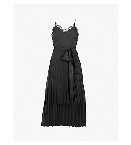 98a0a26c437 SANDRO - Lace-trim pleated crepe midi dress