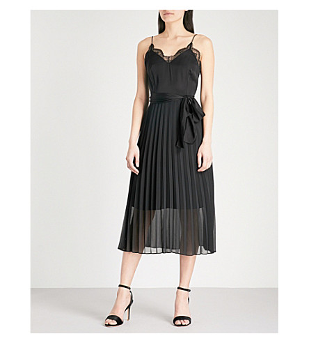 SANDRO Lace-trim pleated crepe midi dress (Noir