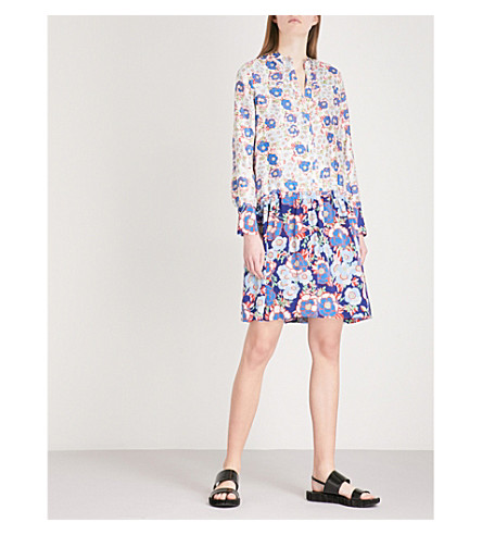 SANDRO Dropped waist all-over print silk dress (Multicolore