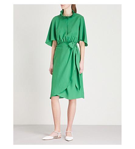 SANDRO Ruffled crepe wrap dress (Vert+gazon