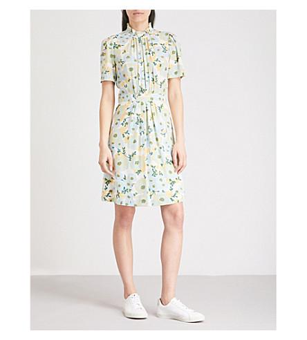 SANDRO Floral-pattern silk-crepe dress (Vert