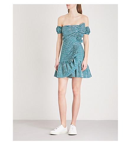 SANDRO Striped off-the-shoulder cotton mini dress (Vert+emeraude