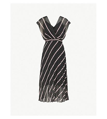 SANDRO Printed chiffon midi dress (Noir