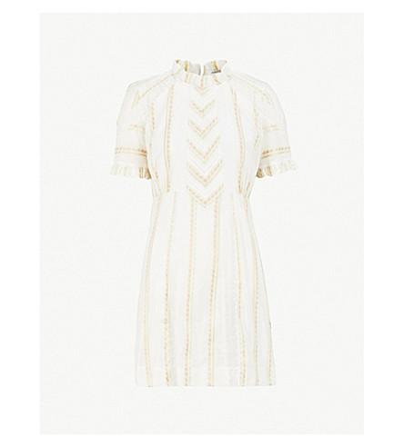 SANDRO Floral-embroidered woven mini dress (Ecru
