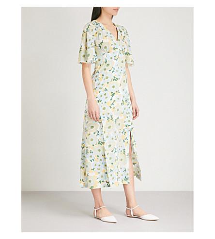 SANDRO Floral silk-crepe dress (Vert