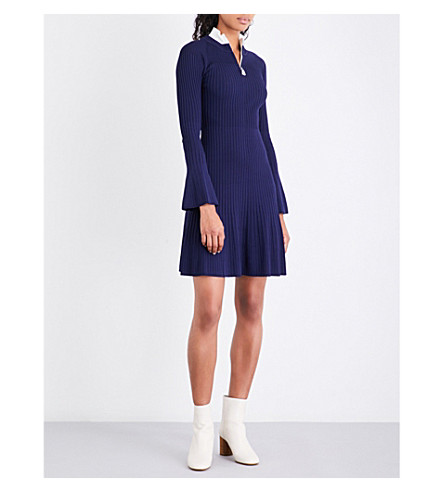 SANDRO Half-zip knitted dress (Navy+blue