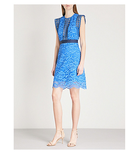 SANDRO Floral lace-embroidered cotton-blend mini dress (Bleu