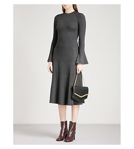 SANDRO Pointelle-knit ribbed-knit midi dress (Grey