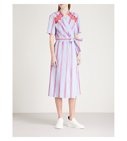 SANDRO Striped cotton midi wrap dress (Bleu+ciel