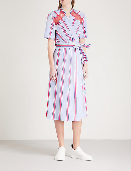 SANDRO Striped cotton midi wrap dress