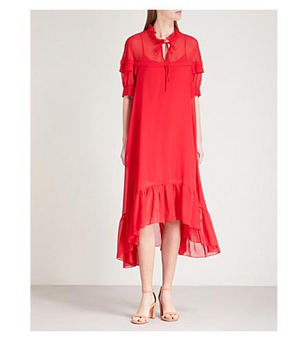 SANDRO Frilled collar chiffon midi dress (Rouge+carlate