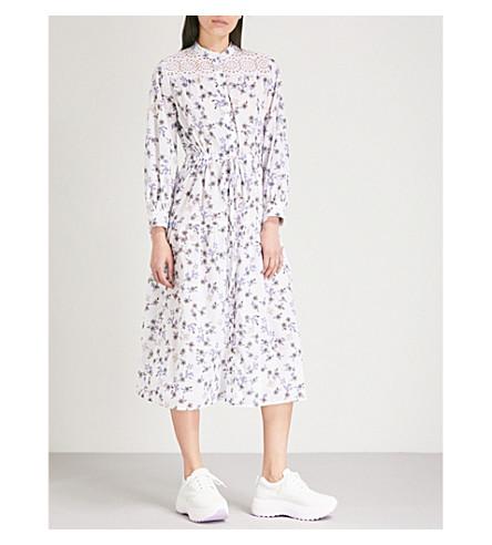 SANDRO Floral pattern cotton dress (Ecru