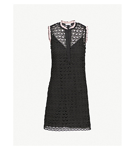 SANDRO Embroidered lace mini dress (Noir