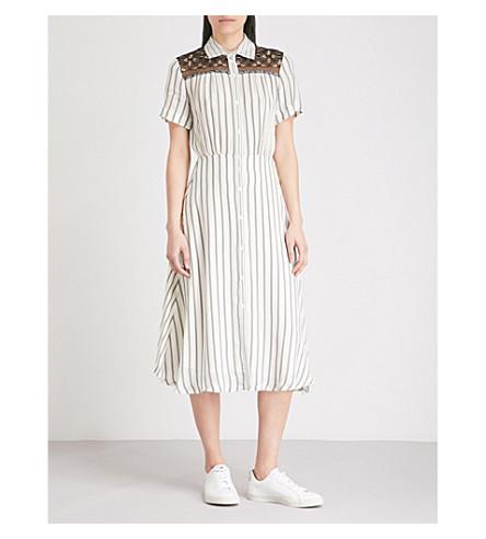 SANDRO Striped woven midi dress (Ecru