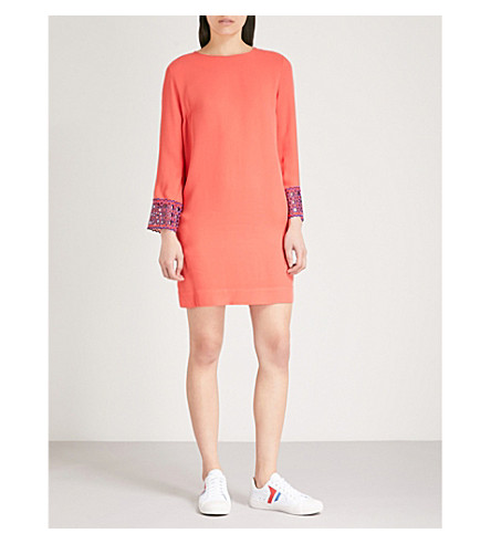 SANDRO Lace cuffs crepe dress (Corail