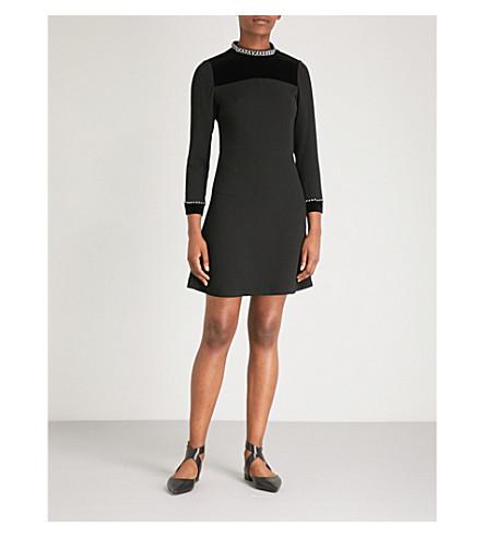 SANDRO Embellished woven dress (Noir
