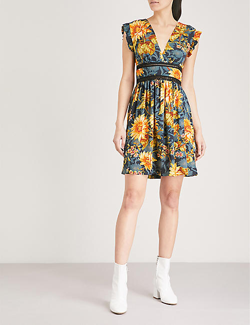 SANDRO Floral-print embroidered silk mini dress