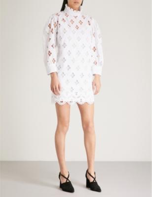 Houle Eyelet High-Neck Mini Dress in White