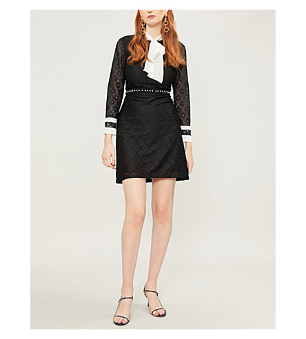SANDRO Beaded lace and silk dress (Noir