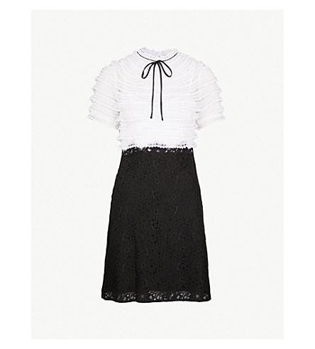 SANDRO 高颈真丝和蕾丝连衣裙 (黑色