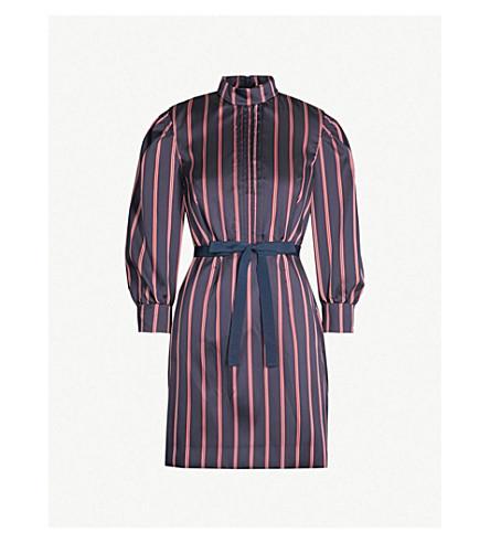 SANDRO 尊重条纹缎布连衣裙 (深 + 海军