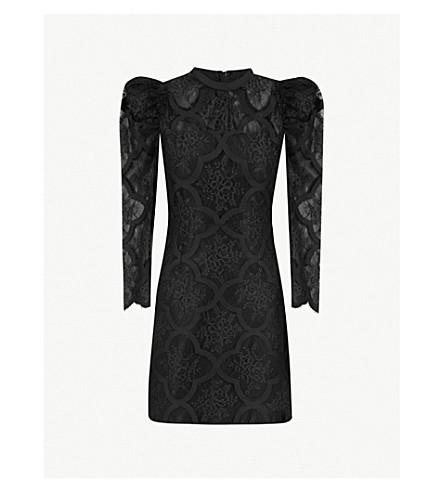 SANDRO Puff-sleeve floral-lace mini dress (Noir