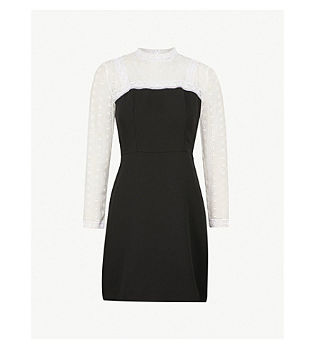 SANDRO Ruffled collar lace and crepe dress (Noir