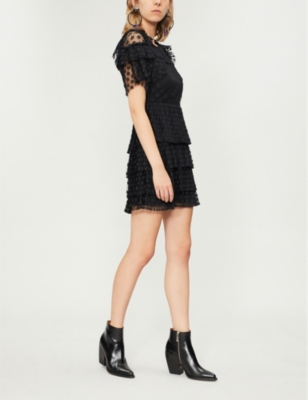 Beautee Floral-Lace Cold-Shoulder Dress in Black