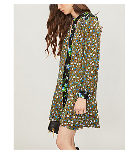 SANDRO Floral-print crepe dress (Olive green