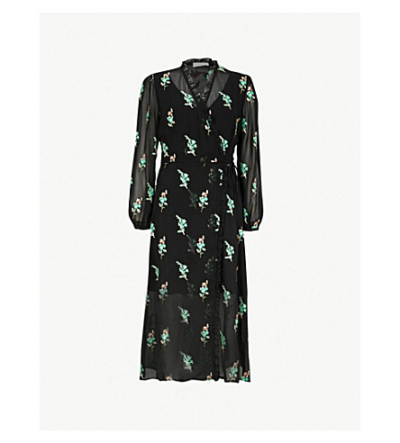 SANDRO Sequin-embellished chiffon midi wrap dress (Noir