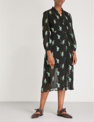 Sequin-Embellished Chiffon Midi Wrap Dress in Black