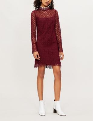 Helian Lace Midi Dress in Red