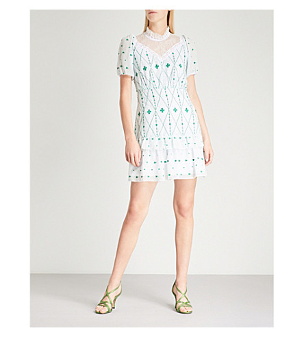 SANDRO Lace-panelled embroidered crepe mini dress (Green+++white