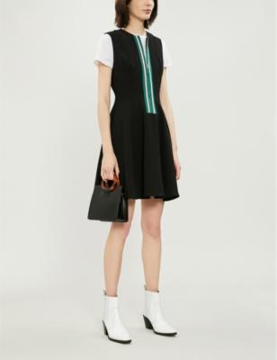 Ines Zip-Front Fit-&-Flare Dress in Black