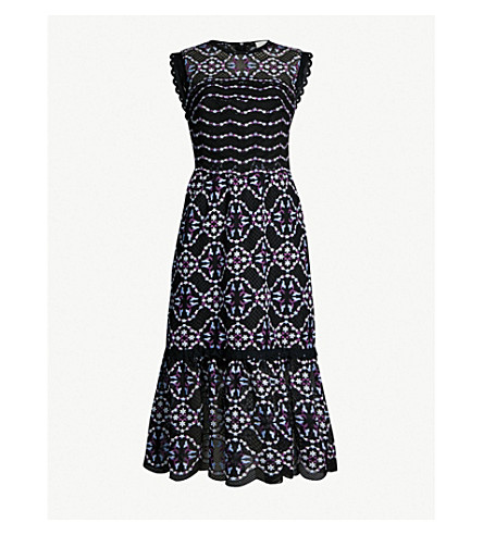 SANDRO Embroidered-lace floral dress (Black