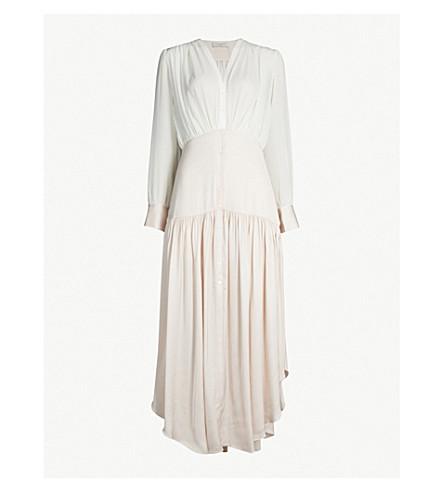 SANDRO Olive asymmetrical chiffon and satin dress (Light pink