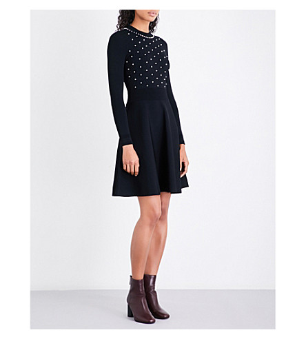 SANDRO Faux-pearl-embellished knitted dress (Black