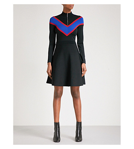 SANDRO 雪佛龙针织连衣裙 (黑色